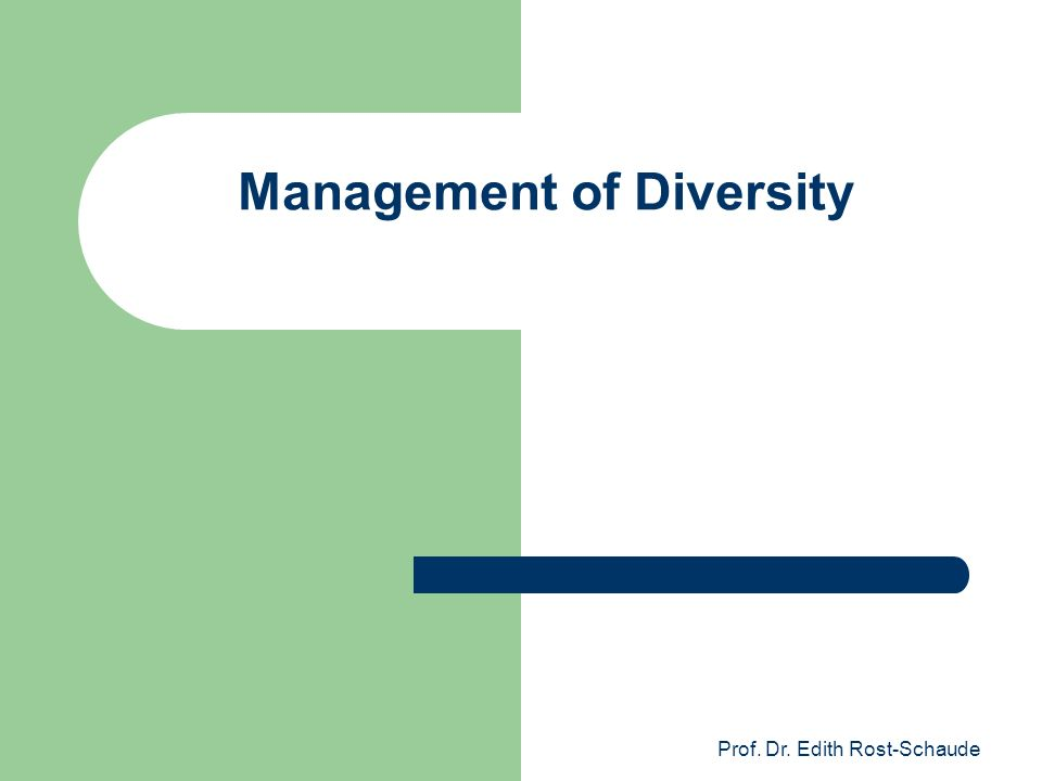 Management of Diversity