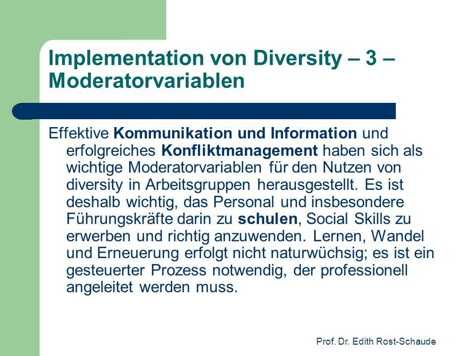 Implementation von Diversity – 3 – Moderatorvariablen