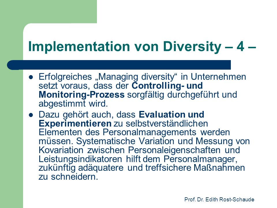 Implementation von Diversity – 4 –