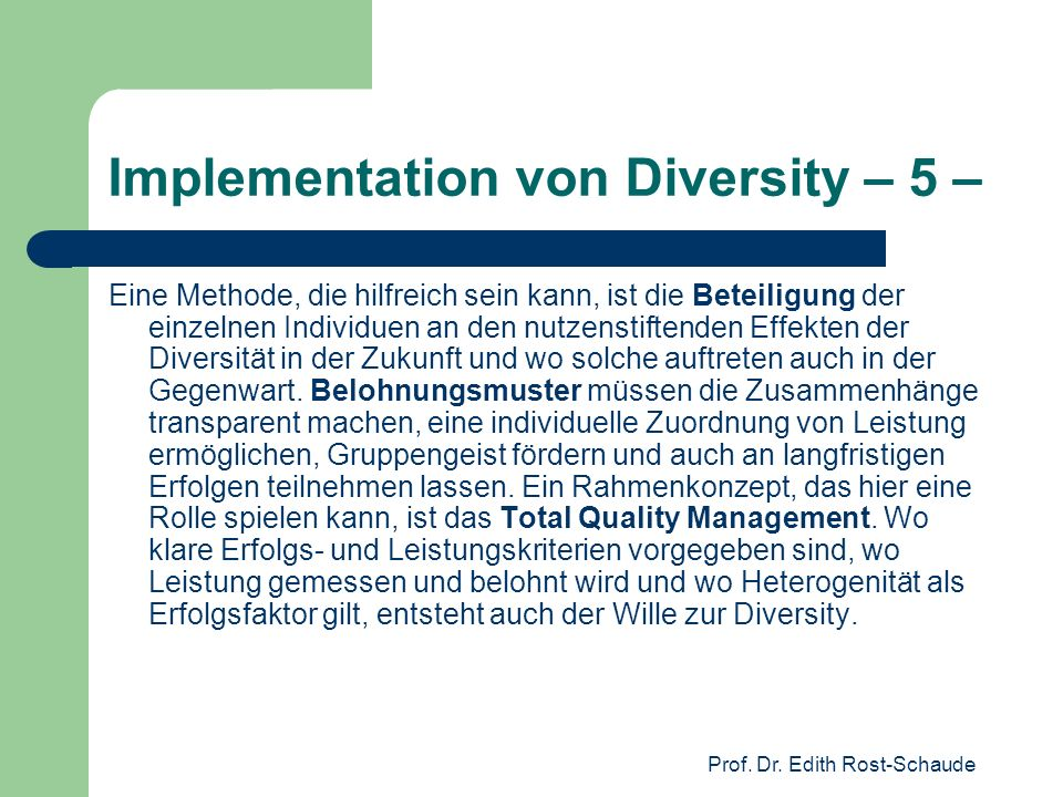 Implementation von Diversity – 5 –