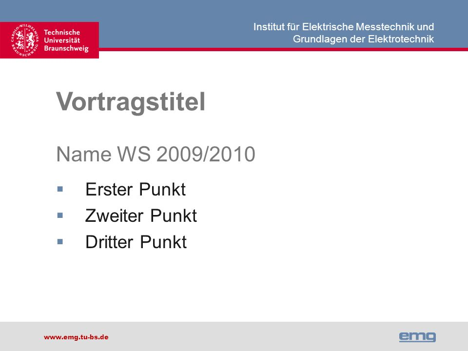 Vortragstitel Name WS 2009/2010 Erster Punkt Zweiter Punkt