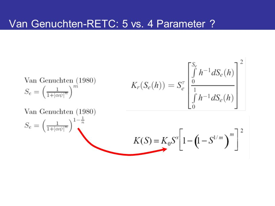 Van Genuchten-RETC: 5 vs. 4 Parameter