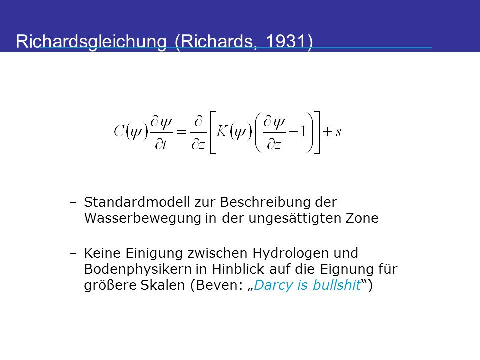 Richardsgleichung (Richards, 1931)