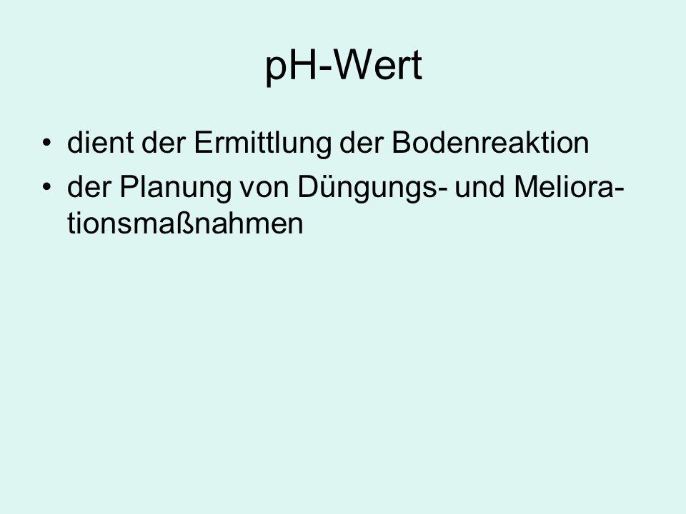 pH-Wert dient der Ermittlung der Bodenreaktion