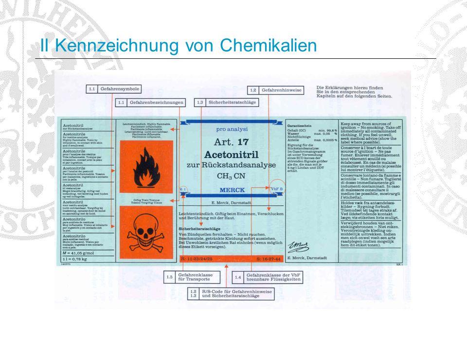 II Kennzeichnung von Chemikalien