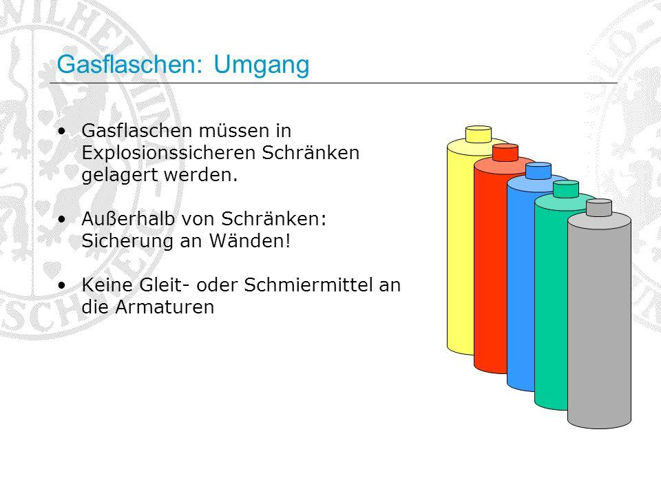 Gasflaschen: Umgang Gasflaschen müssen in Explosionssicheren Schränken gelagert werden. Außerhalb von Schränken: Sicherung an Wänden!