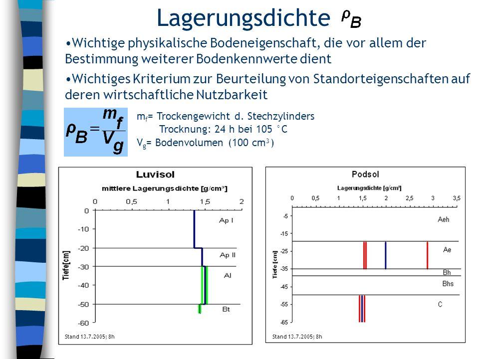 Lagerungsdichte Wichtige physikalische Bodeneigenschaft, die vor allem der Bestimmung weiterer Bodenkennwerte dient.