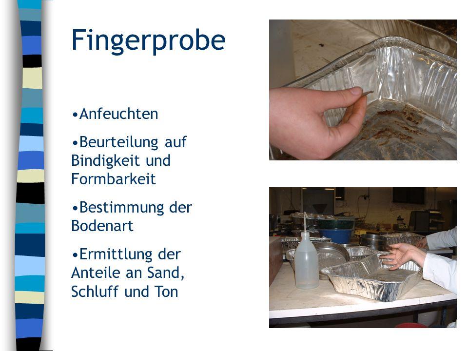 Fingerprobe Anfeuchten Beurteilung auf Bindigkeit und Formbarkeit