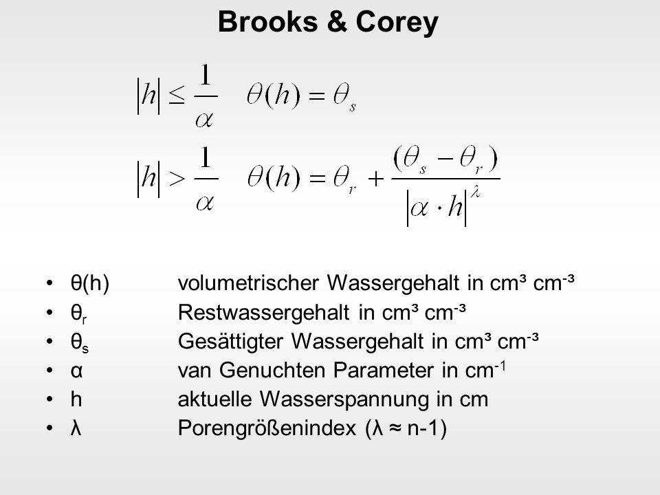 Brooks & Corey θ(h) volumetrischer Wassergehalt in cm³ cm-³