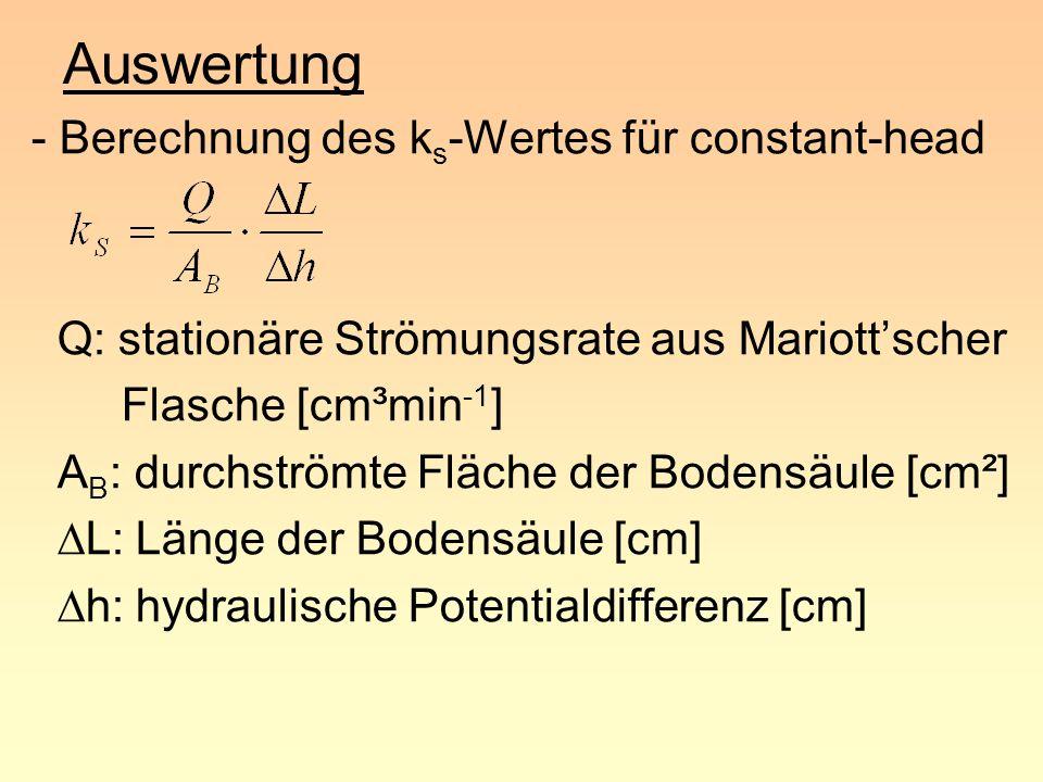 Auswertung - Berechnung des ks-Wertes für constant-head