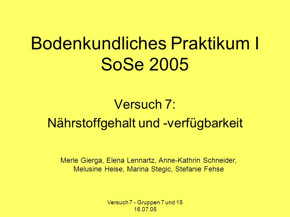 Bodenkundliches Praktikum I SoSe 2005