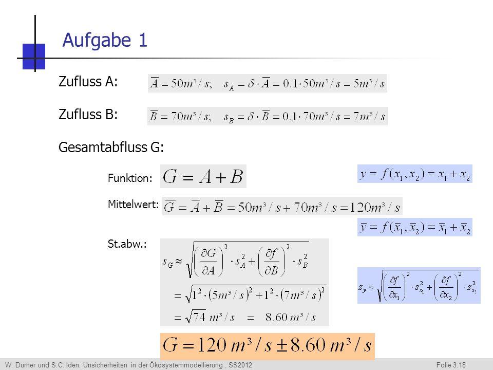 Aufgabe 1 Zufluss A: Zufluss B: Gesamtabfluss G: Funktion: Mittelwert: