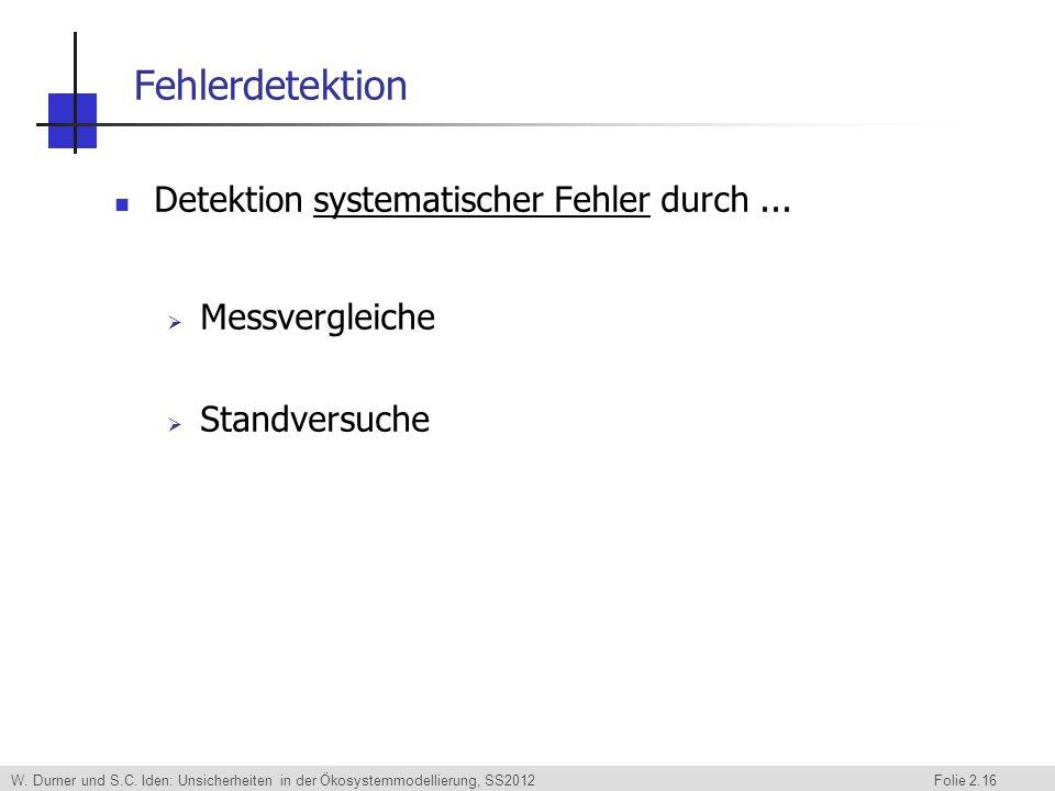 Fehlerdetektion Detektion systematischer Fehler durch ...