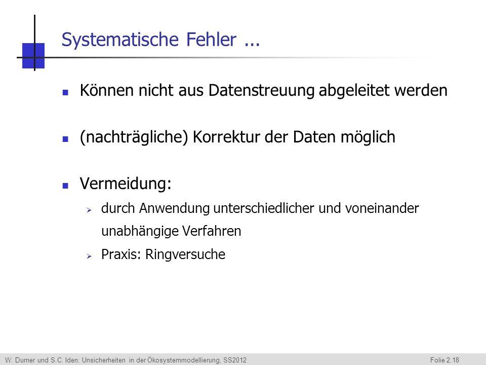 Systematische Fehler ... Können nicht aus Datenstreuung abgeleitet werden. (nachträgliche) Korrektur der Daten möglich.