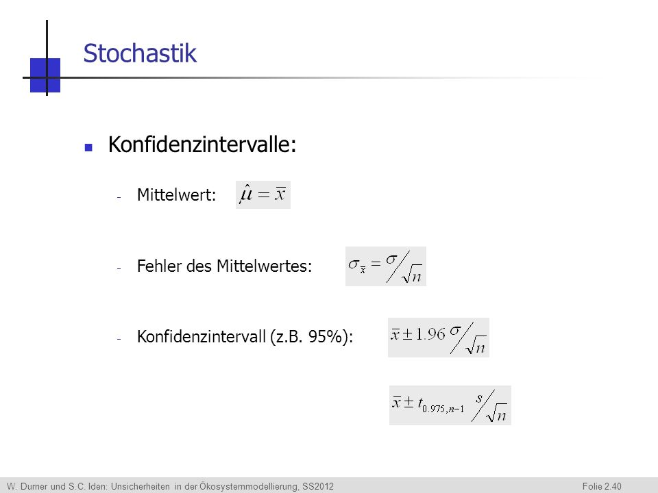 Stochastik Konfidenzintervalle: Mittelwert: Fehler des Mittelwertes: