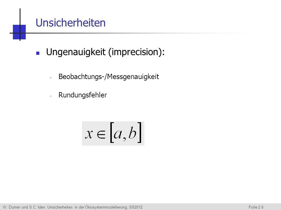 Unsicherheiten Ungenauigkeit (imprecision):