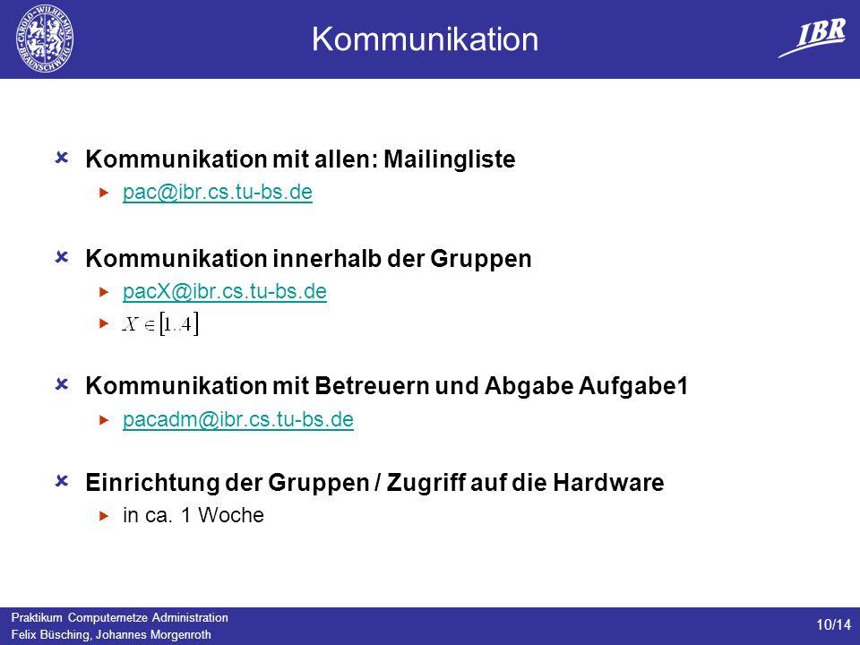 Kommunikation Kommunikation mit allen: Mailingliste