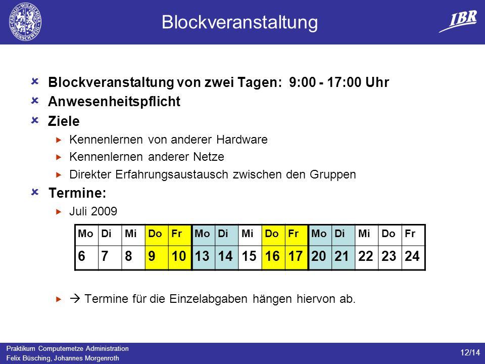Blockveranstaltung Blockveranstaltung von zwei Tagen: 9:00 - 17:00 Uhr