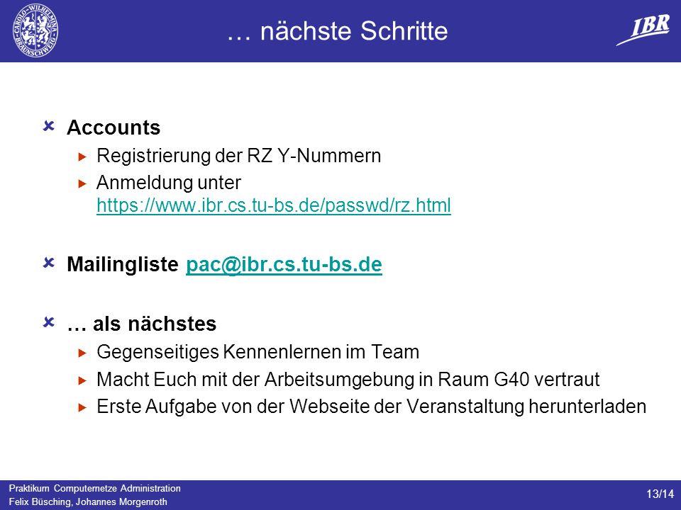 … nächste Schritte Accounts Mailingliste pac@ibr.cs.tu-bs.de