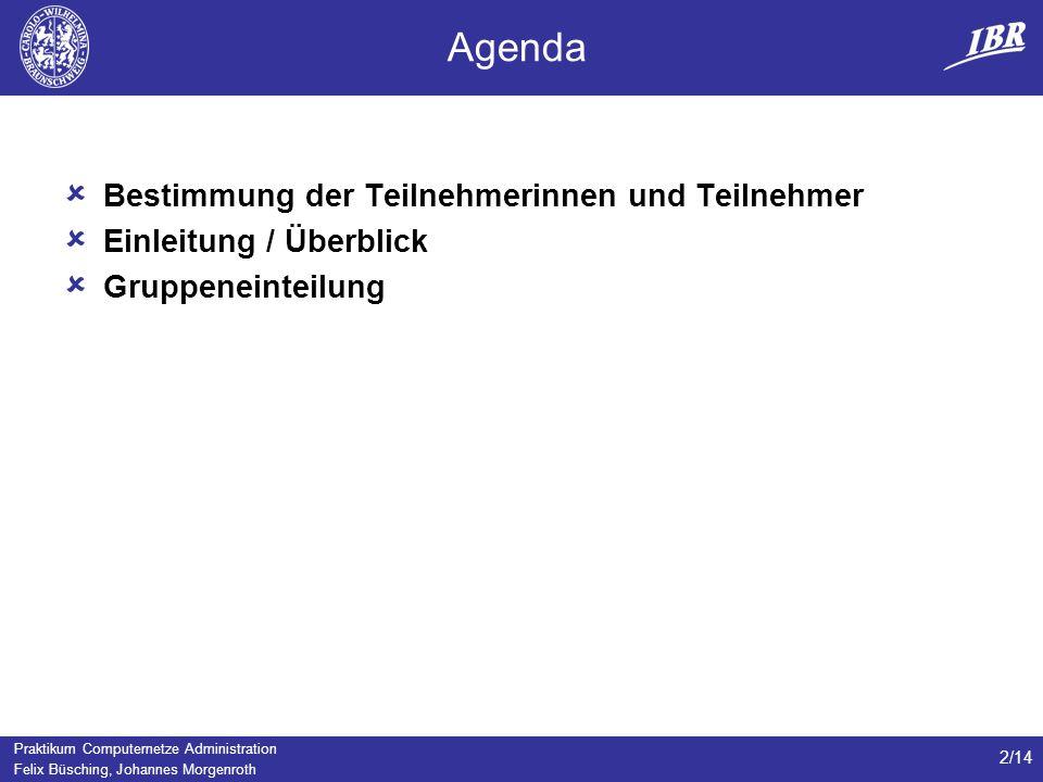 Agenda Bestimmung der Teilnehmerinnen und Teilnehmer