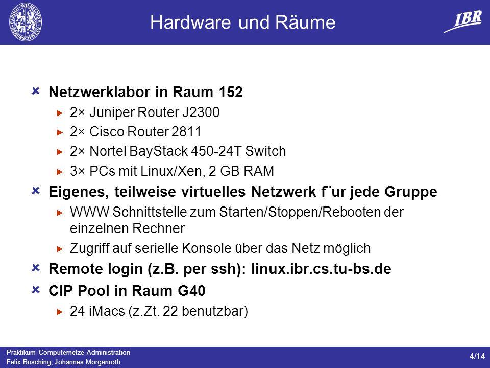 Hardware und Räume Netzwerklabor in Raum 152