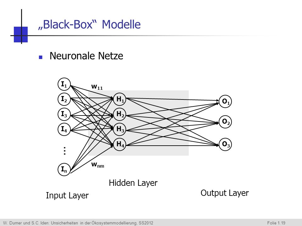 """Black-Box Modelle Neuronale Netze ... Hidden Layer Output Layer"