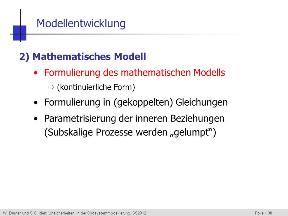 Modellentwicklung 2) Mathematisches Modell