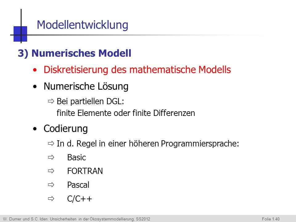 Modellentwicklung 3) Numerisches Modell