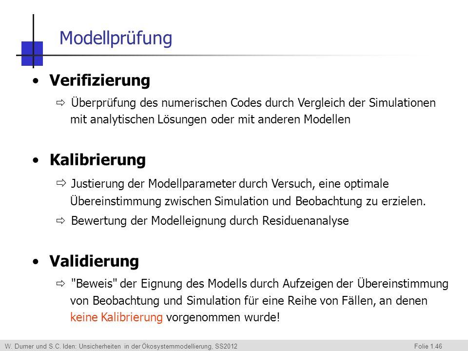 Modellprüfung Verifizierung Kalibrierung Validierung