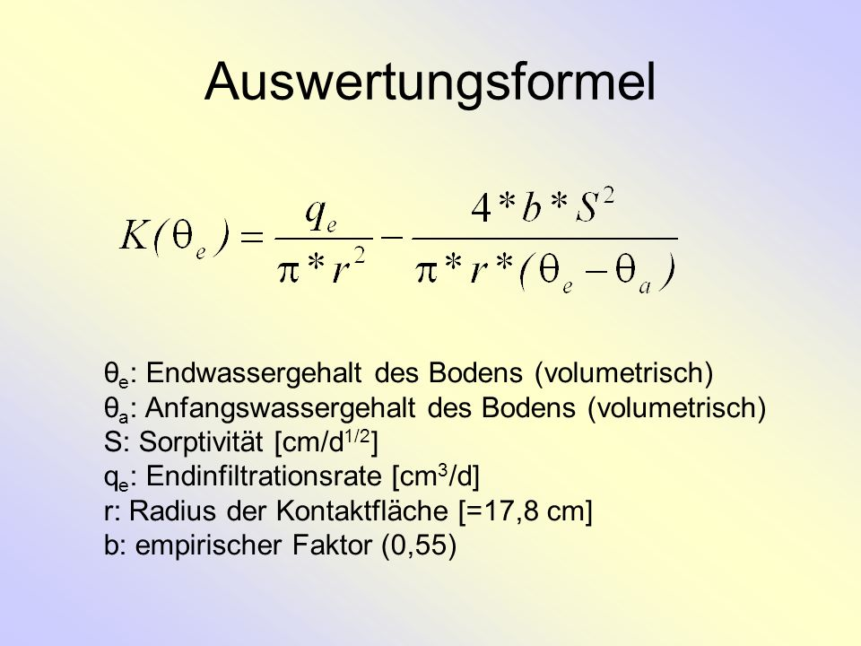 Auswertungsformel θe: Endwassergehalt des Bodens (volumetrisch)
