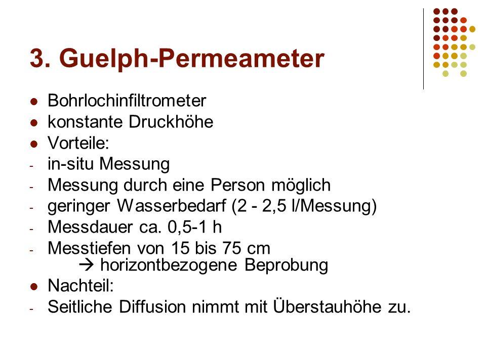 3. Guelph-Permeameter Bohrlochinfiltrometer konstante Druckhöhe