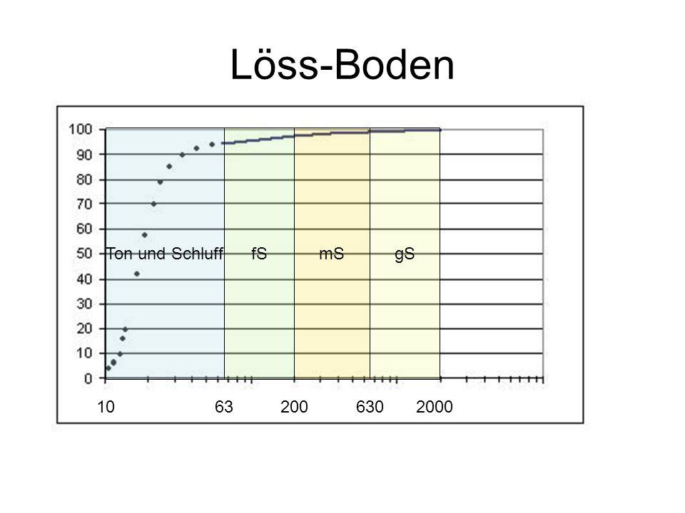 Löss-Boden Ton und Schluff fS mS gS 10 63 200 630 2000