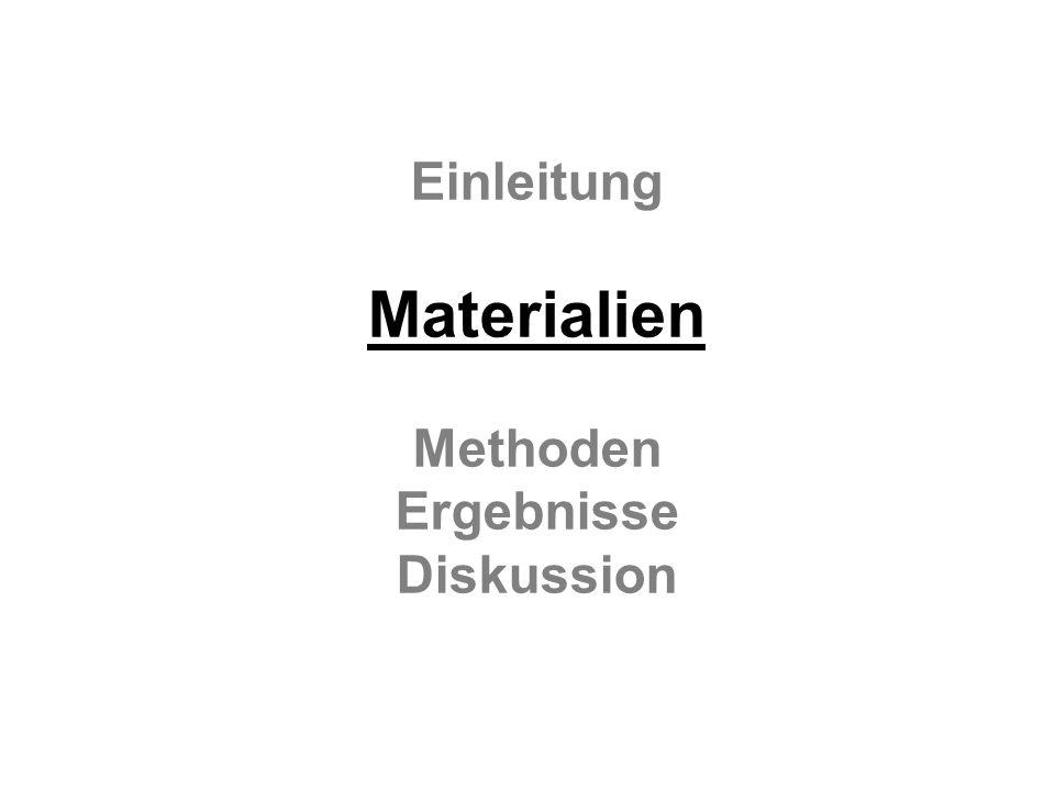 Einleitung Materialien Methoden Ergebnisse Diskussion