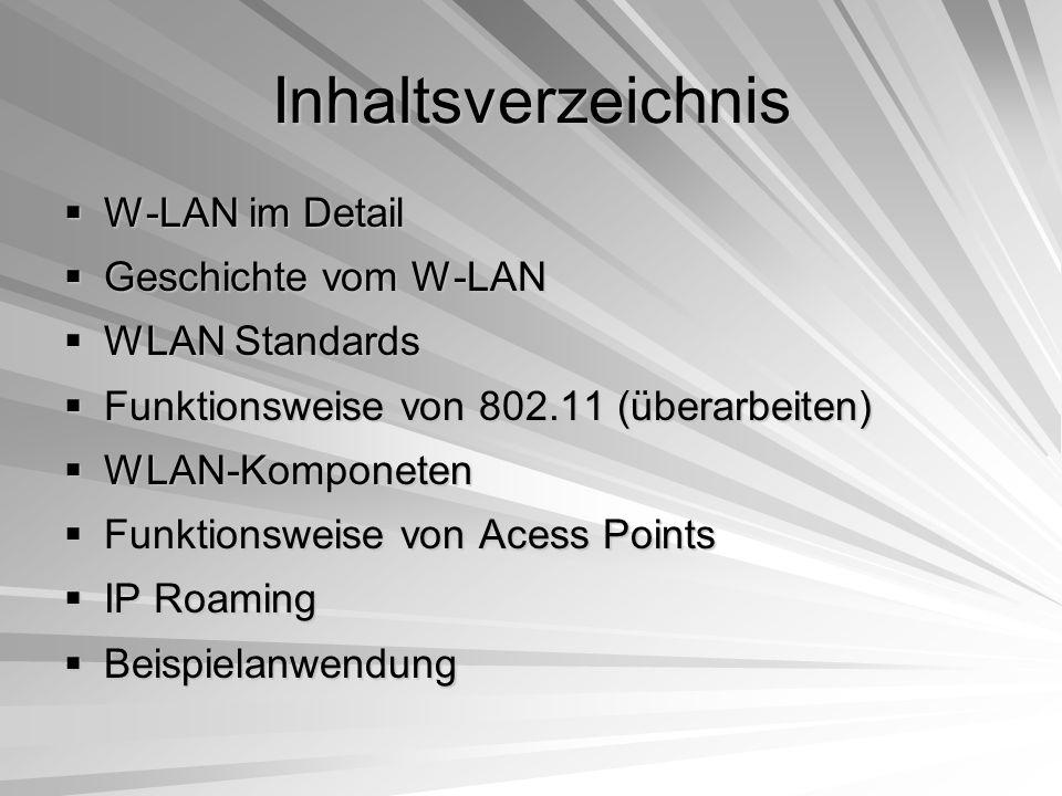 Inhaltsverzeichnis W-LAN im Detail Geschichte vom W-LAN WLAN Standards