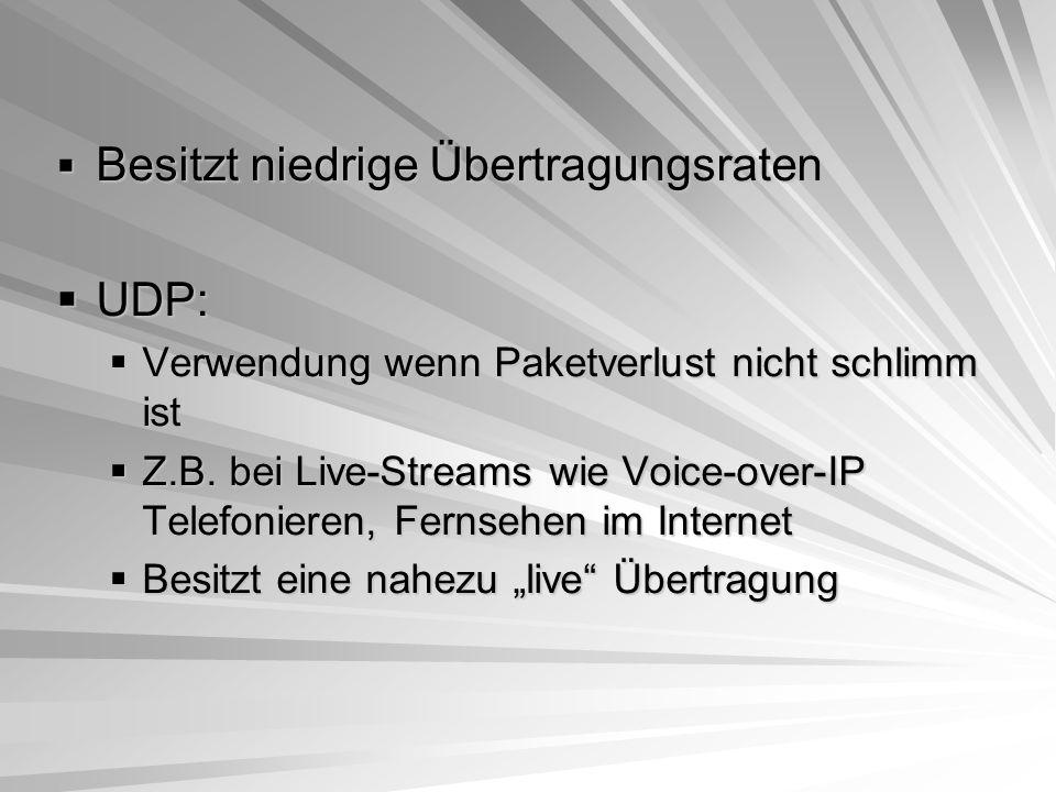 Besitzt niedrige Übertragungsraten UDP: