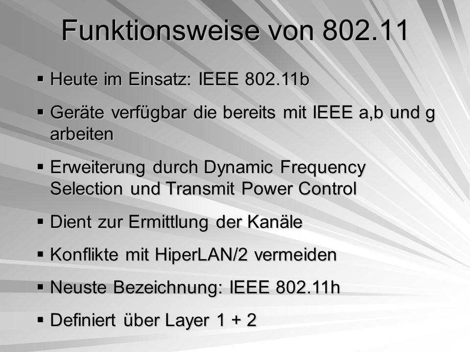 Funktionsweise von 802.11 Heute im Einsatz: IEEE 802.11b