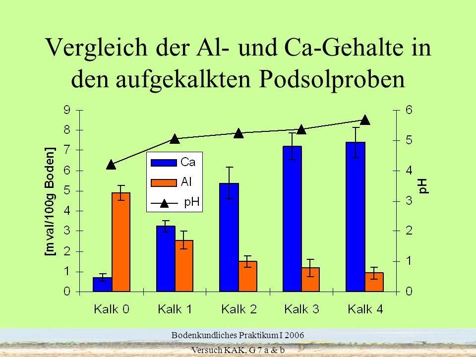 Vergleich der Al- und Ca-Gehalte in den aufgekalkten Podsolproben