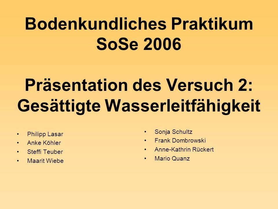 Bodenkundliches Praktikum SoSe 2006 Präsentation des Versuch 2: Gesättigte Wasserleitfähigkeit