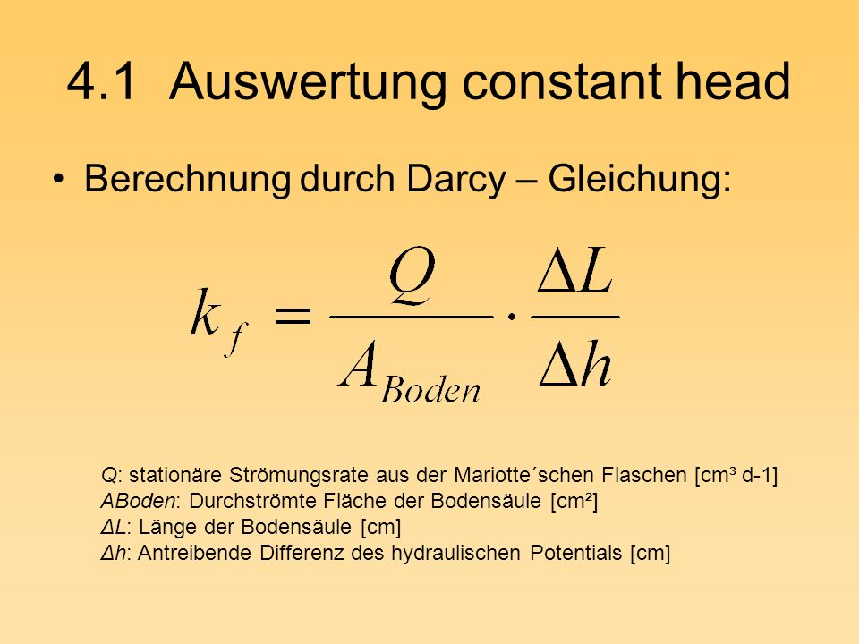 4.1 Auswertung constant head