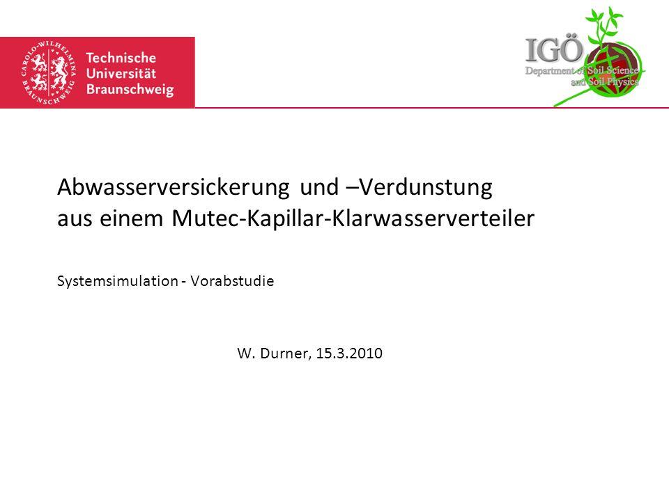 Systemsimulation - Vorabstudie W. Durner, 15.3.2010