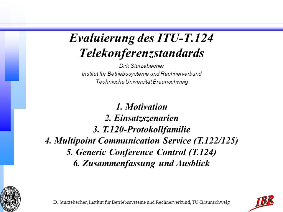 Evaluierung des ITU-T.124 Telekonferenzstandards