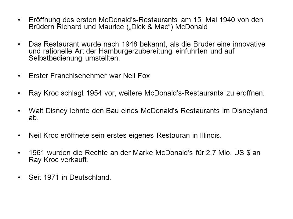 Eröffnung des ersten McDonald's-Restaurants am 15
