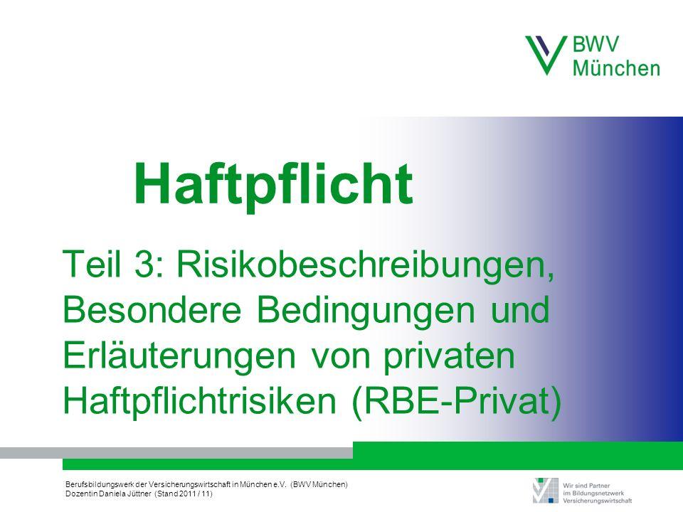 Haftpflicht Teil 3: Risikobeschreibungen, Besondere Bedingungen und Erläuterungen von privaten Haftpflichtrisiken (RBE-Privat)