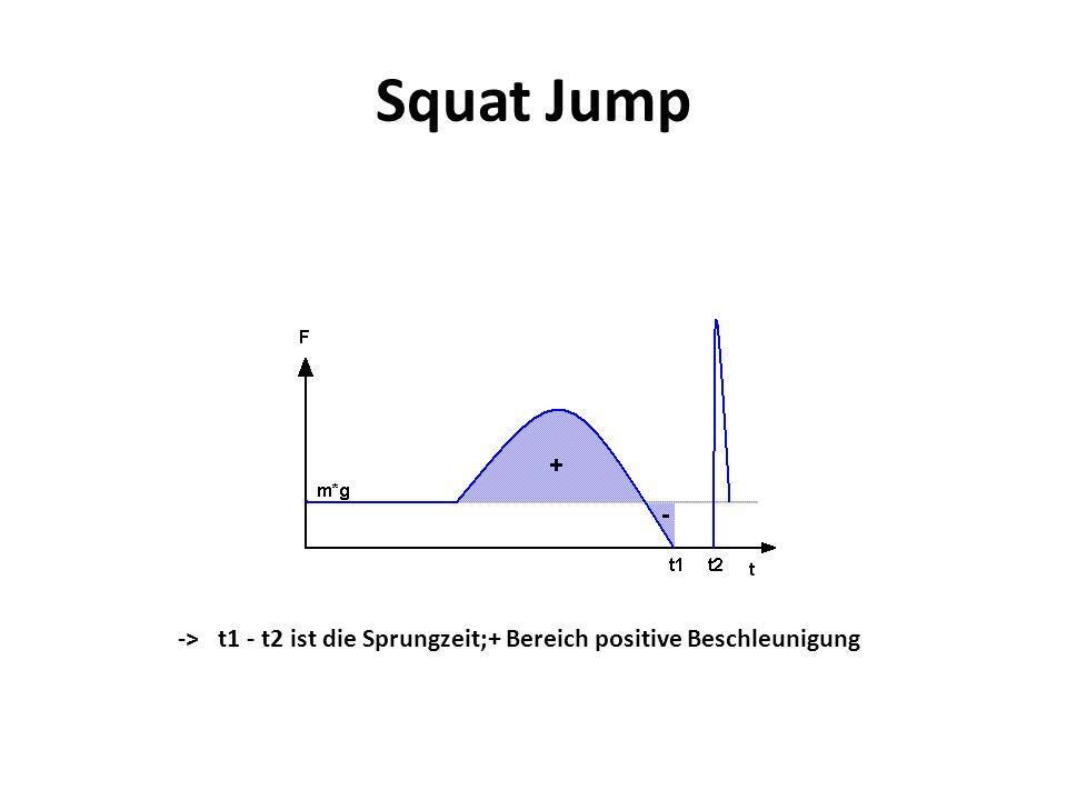 Squat Jump -> t1 - t2 ist die Sprungzeit;+ Bereich positive Beschleunigung