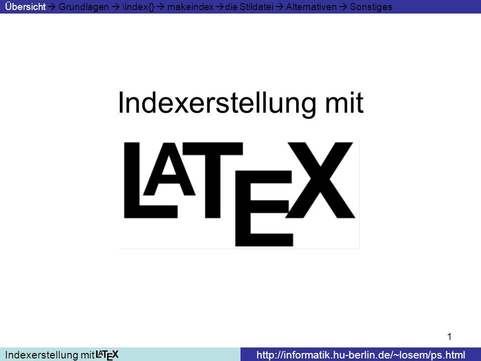 Indexerstellung mit Indexerstellung mit