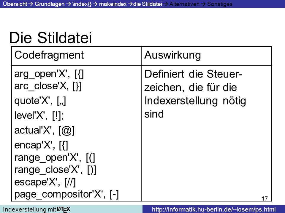 Die Stildatei Codefragment Auswirkung