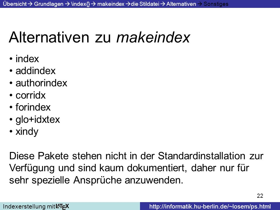 Alternativen zu makeindex