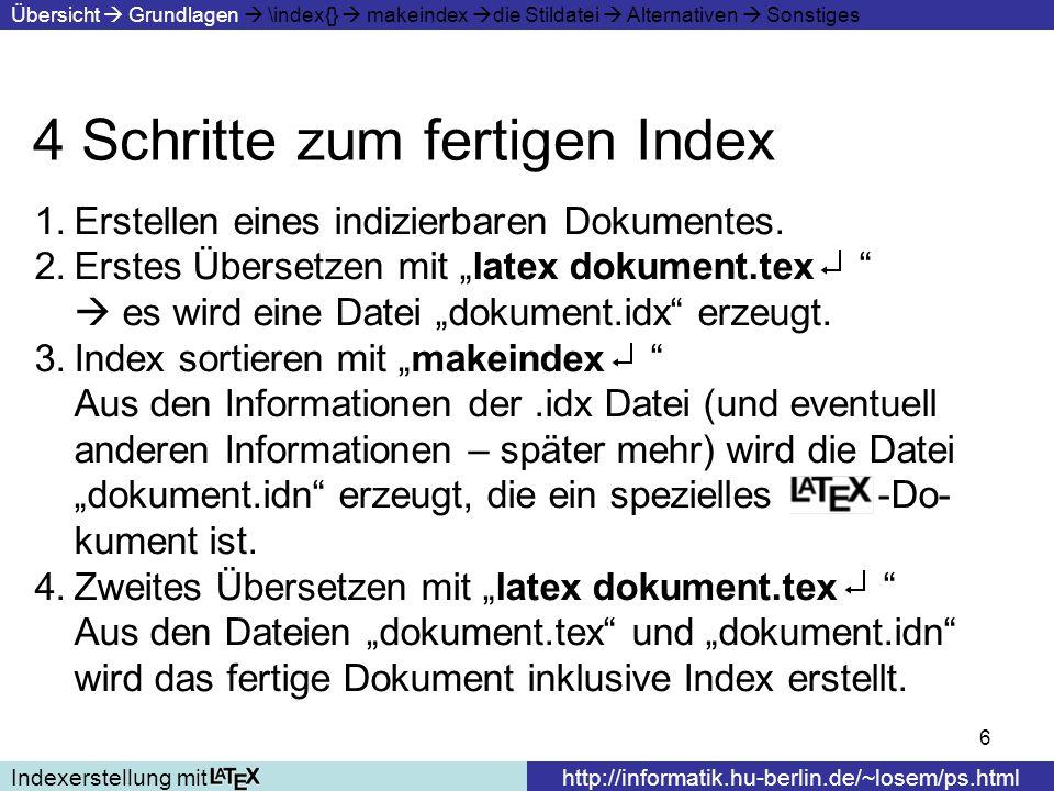 4 Schritte zum fertigen Index