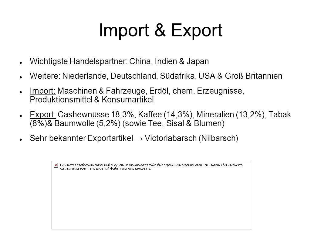 Import & Export Wichtigste Handelspartner: China, Indien & Japan