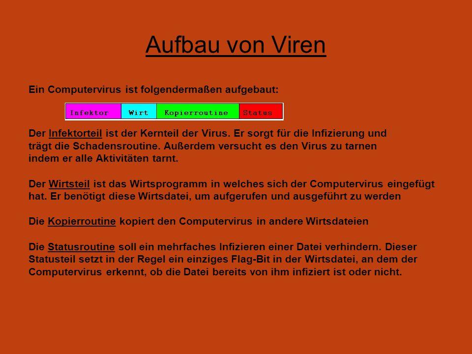 Aufbau von Viren Ein Computervirus ist folgendermaßen aufgebaut: